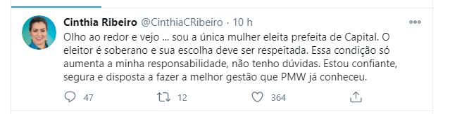 Publicação de Cinthia no Twitter