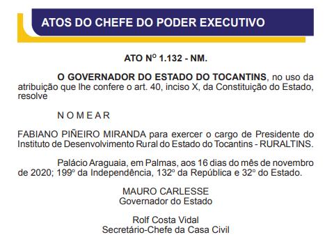 Nomeação de Fabiano Piñeiro Miranda