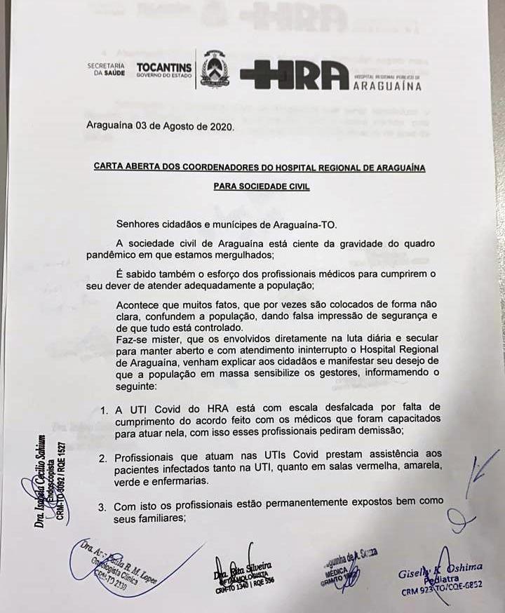 Carta dos coordenadores do HRA à população de Araguaína