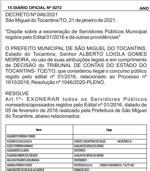 Início do decreto publicado no Diário Oficial do Município