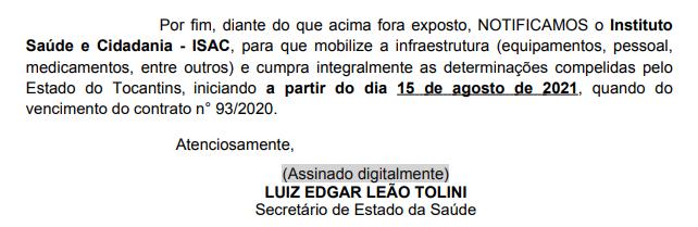 Ofício enviado pelo secretário da Saúde à direção do ISAC