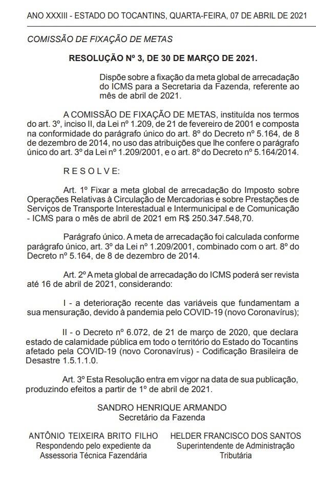 Resolução da Secretaria da Fazenda