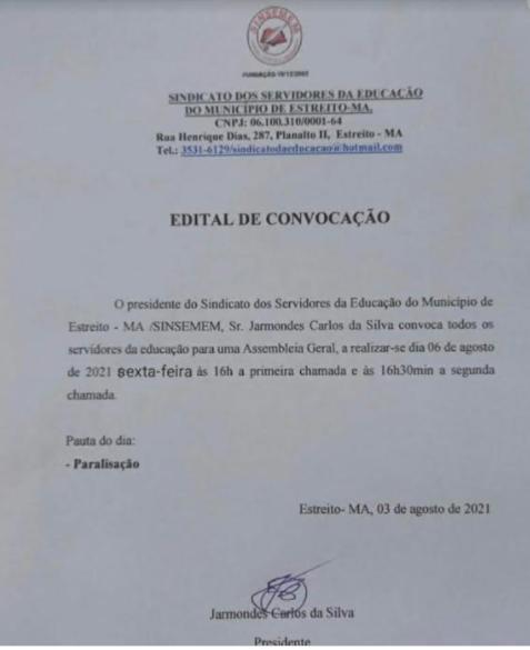 Documento assinado por Jarmondes enviado ao AF Notícias
